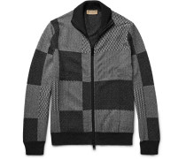 Jacquard-knit Cashmere And Cotton-blend Zip-up Cardigan
