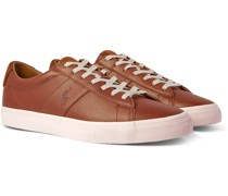 Sayer Logo-Debossed Suede-Trimmed Leather Sneakers