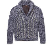 Oversized Shawl-collar Distressed Mélange Wool Cardigan