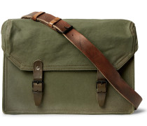 Replica Leather-trimmed Canvas Messenger Bag