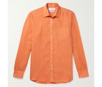 Cutaway-Collar Striped Cotton Shirt