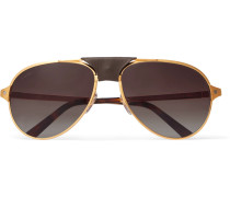 Santos De Cartier Aviator-style Leather-trimmed Gold-plated Sunglasses