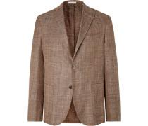 Brown Unstructured Virgin Wool, Silk And Linen-blend Blazer - Brown