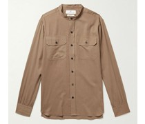 Grandad-Collar Cotton and Wool-Blend Twill Shirt