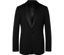 Black Slim-Fit Shawl-Collar Faille-Trimmed Virgin Wool Tuxedo Jacket