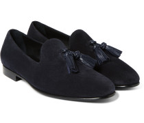 Leather-trimmed Suede Tasselled Loafers