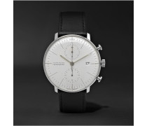 Max Bill Chronograph Stainless Steel And Leather Watch