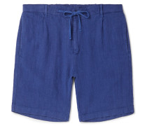 Pleated Linen Drawstring Shorts