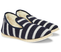 Shearling-lined Striped Wool Slippers