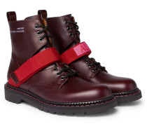 Coordinates Grosgrain-trimmed Leather Combat Boots