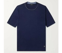 Contrast-Tipped Silk and Cotton-Blend T-Shirt