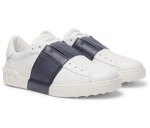 Valentino Garavani Open Striped Leather Slip-on Sneakers