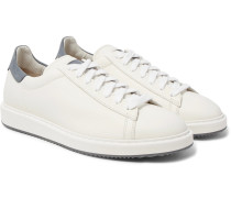 Icaras Nubuck-trimmed Grained-leather Sneakers
