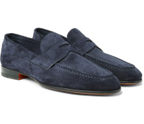 Burnished-suede Penny Loafers