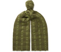Checked Linen and Cashmere-Blend Tweed Scarf