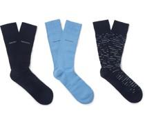 Three-Pack Logo-Jacquard Cotton-Blend Socks