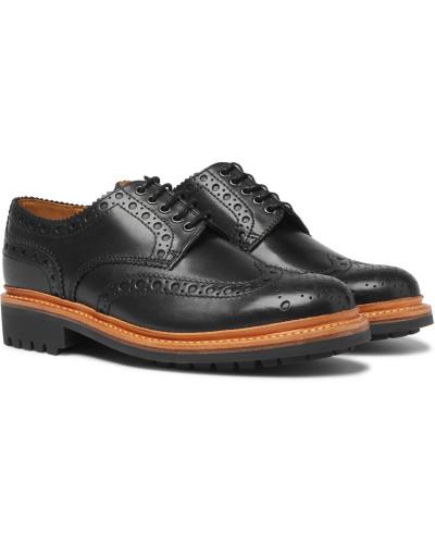 Archie Leather Wingtip Brogues - Black