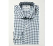 Slim-Fit Cutaway-Collar Gingham Cotton-Poplin Shirt