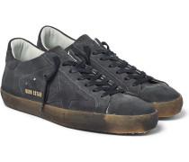 Superstar Distressed Suede Sneakers