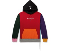 Logo-Embroidered Colour-Block Loopback Cotton-Jersey Hoodie