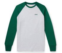 Colour-Block Embroidered Mélange Cotton-Jersey T-Shirt