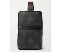 Mesh-Panelled Logo-Print Canvas and Leather Camera Bag