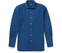 Slim-fit Cutaway-collar Cotton Shirt