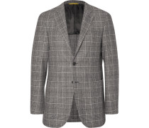 Grey Slim-fit Checked Wool And Cashmere-blend Blazer