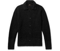 Slim-fit Waffle-knit Cashmere Cardigan