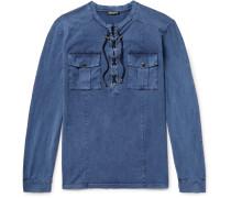 Slim-fit Lace-up Cotton Shirt