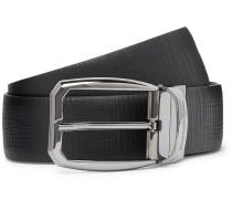 3.5cm Black Reversible Cross-Grain Leather Belt