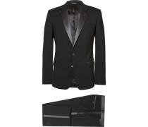 Black Slim-fit Silk-trimmed Virgin Wool Tuxedo