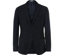 Navy Slim-fit Gingham Linen Blazer
