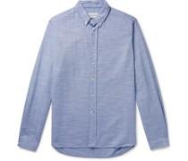 Brook Button-Down Collar Mélange Brushed-Cotton Shirt