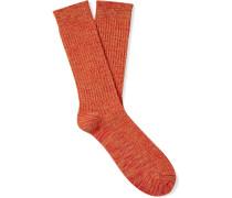 Mélange Ribbed Cotton-Blend Socks