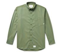 Button-Down Collar Logo-Appliquéd Twill Shirt