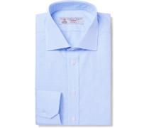 Blue Slim-fit Cutaway-collar Cotton-jacquard Shirt