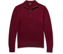 Suede-trimmed Cashmere Half-zip Sweater