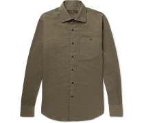 Cutaway-collar Cotton Shirt