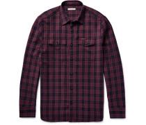 Brit Slim-fit Checked Virgin Wool-blend Shirt