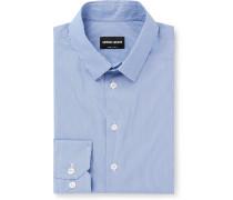 Slim-Fit Pinstriped Cotton-Blend Poplin Shirt
