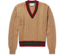 Slim-fit Striped Cable-knit Wool Sweater