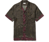 Carlton Camp-collar Printed Satin Shirt
