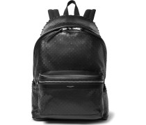 City Perforated Leather And Canvas Backpack