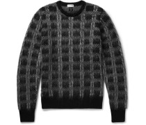 Slim-fit Checked Brushed Knitted Sweater