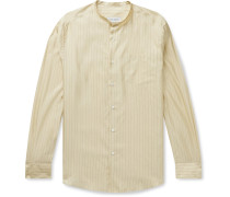 Edwards Grandad-Collar Striped Silk and Cotton-Blend Shirt