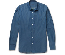 Slim-fit Penny-collar Cotton-chambray Shirt