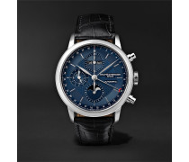 Classima Automatic Moon-Phase Calendar Chronograph 42mm Stainless Steel and Alligator Watch, Ref. No. M0A10484