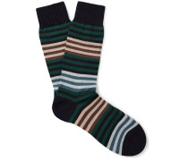 Sudbury Striped Merino Wool-blend Socks