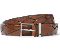 2.5cm Brown Braided Leather Belt